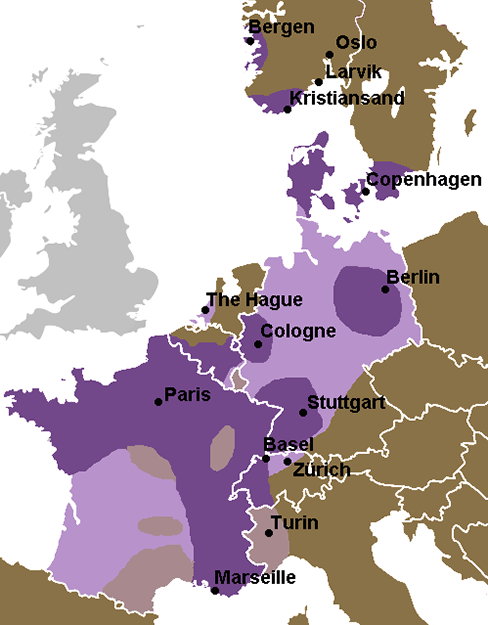Photos: Wikimedia Commors Map showing prevalence of the burr in Europe; dark splotches indicate general use.