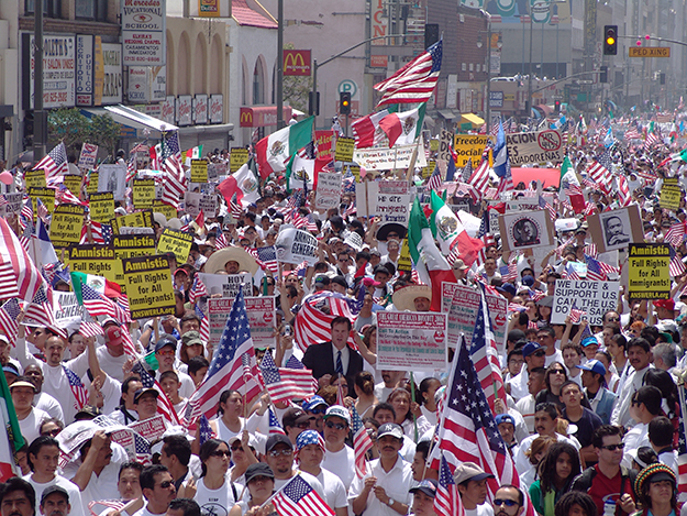 Photo: Jonathan McIntosh / Wikimedia Commons Protestors march through Los Angeles on May Day, 2006.