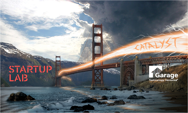 A poster for Silicon Valley Catalyst, featuring the Golden Gate Bridge.