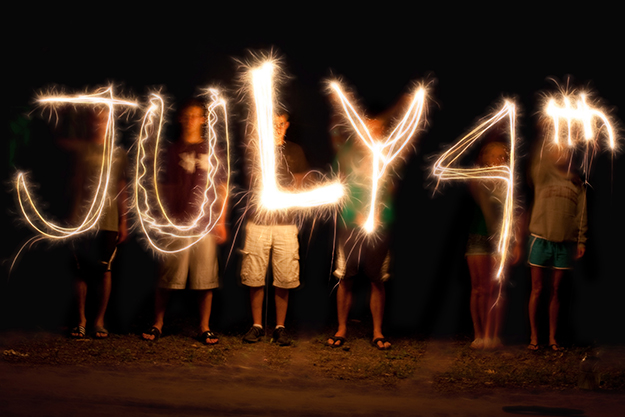 Fourth of July written in sparklers