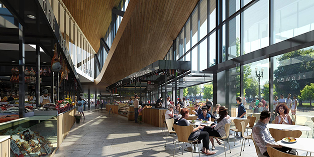 Photo: MIR & Snøhetta  The James Beard Public Market in Portland will include sweeping winglike features, and a permeability between indoor and outdoor space.