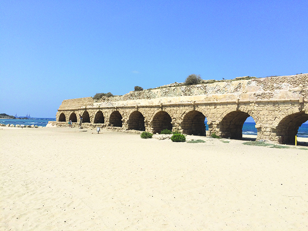 Photo: Emily C. Skaftun An example of the ancient ruins of Roman aquaduct outside Caesarea, a port city built by Herod the Great.