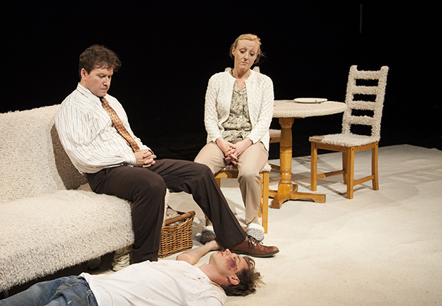 Photo: Yann Bean, courtesy of SATC Ingrid Kullberg-Bendz, Kristoffer Tonning, and Andrew Langton in SATC's Off-Off-Broadway production of The Returning.