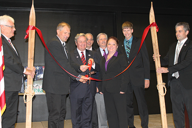 Photo courtesy of Telemark Trade Office  Delegates from Telemark join locals at the ribbon-cutting ceremony to open the Telemark Trade Office in Minot, N.D., last October.
