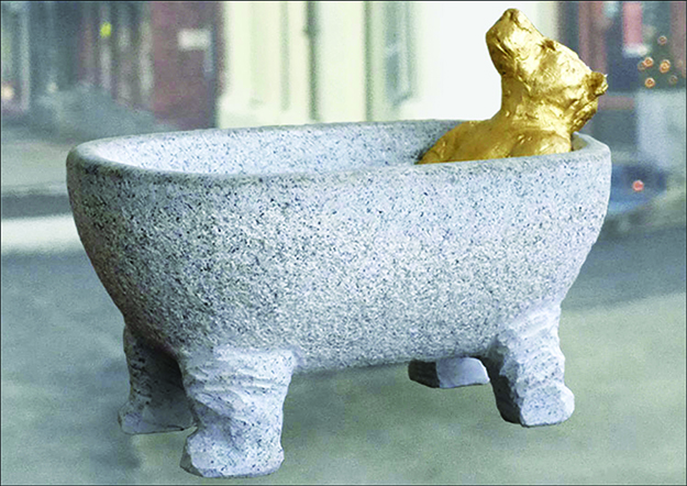 "Photo courtesy of the City of Sarpsborg In ""Flod"" the bear in the bathtub depicts the animal prominently featured on Sarpsborg's coat of arms."