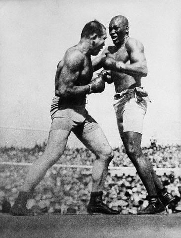 Photo: Wikimedia Commons Jack Johnson fights James J. Jeffries in 1910.