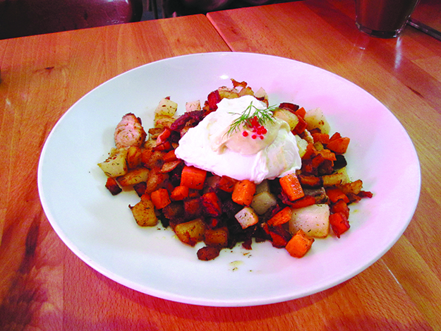 Photo: Christine Foster Meloni The pytt i panna dish is offered with salmon, as seen here, or with ground beef.