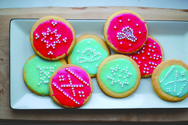 Photo: Dianna Walla Sprinkles evoke Nordic sweater patterns in these sprits cookies. Use the templates provided or design your own crafty cookies.