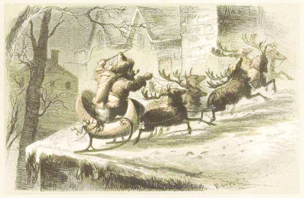 "Photo: Wikimedia Commons ""Santa's Sleigh Lands on a Roof,"" accompanied an 1862 edition of ""A Visit From Saint Nicholas."" It is the work of the artist F.O.C. Darley."