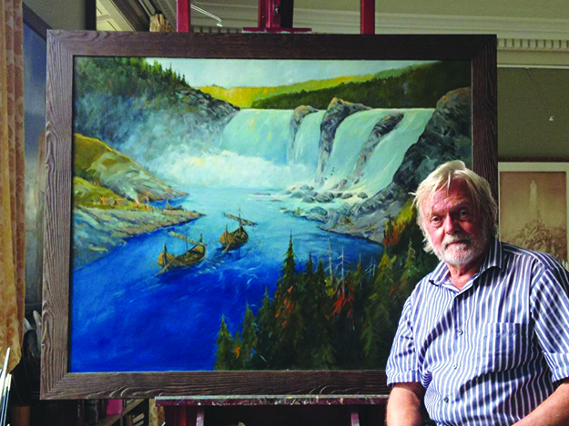 Photo: Viggo Faukland Helge Berg Skånlund presents his painting illustrating the discovery of the Sarpsborg waterfalls by King Olav. His trademark, two people walking side-by-side, can be found on the rocks to the right of the skip.