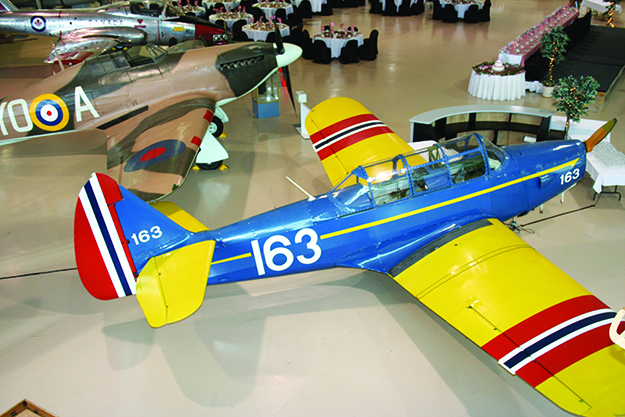 Photo courtesy of Canadian Warplane Heritage Museum Fairchild Cornell trainer in the Little Norway camp colors.