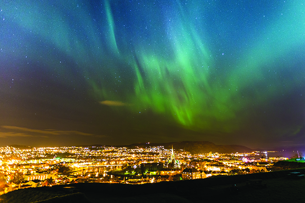 Photo: Sven-Erik Knoff / Visitnorway.com The northern lights over Trondheim, with the spire of Nidarosdomen in the foreground.