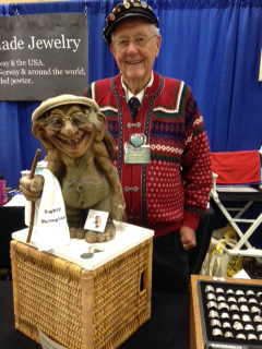 Photo courtesy of Heidi Peterson Selmer (Sam) Simonson at Norsk Høstfest with his troll, Ole.