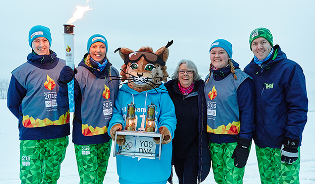 Photo: Lillehammer 2016 Youth Olympic Games / Flickr The Olympic torch passes through Voss on its way to the Winter Youth Olympic Games in Lillehammer. Here young athletes pose with Sjogg, the lynx mascot of this year's games.