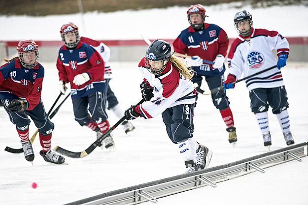 Photo: Slade Kemmet at SladeKemmet.com Team USA takes on the more experienced Norwegian team in the World Championships of Bandy.