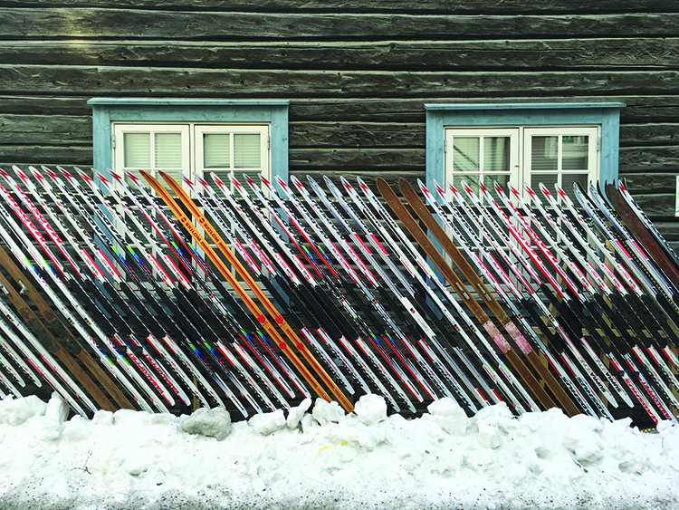 Photo: David Nikel The sporting flavor of Lillehammer is on display in this fence made of skis.