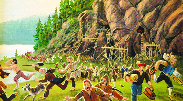 Photo: Bjorn Olsen Farmers chase the German miners outside Guldnes mine in Seljord in this painting from the Kongsberg Mining Museum.