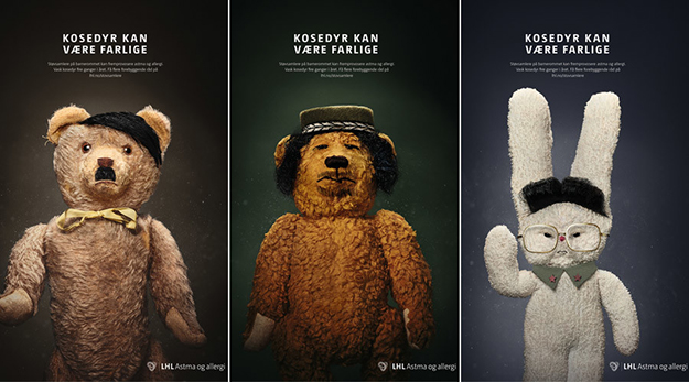 "Photo: LHL Astma og allergi / Facebook Is dust as scary as dictators? Norwegian ad campaign warns ""stuffed animals can be dangerous."""