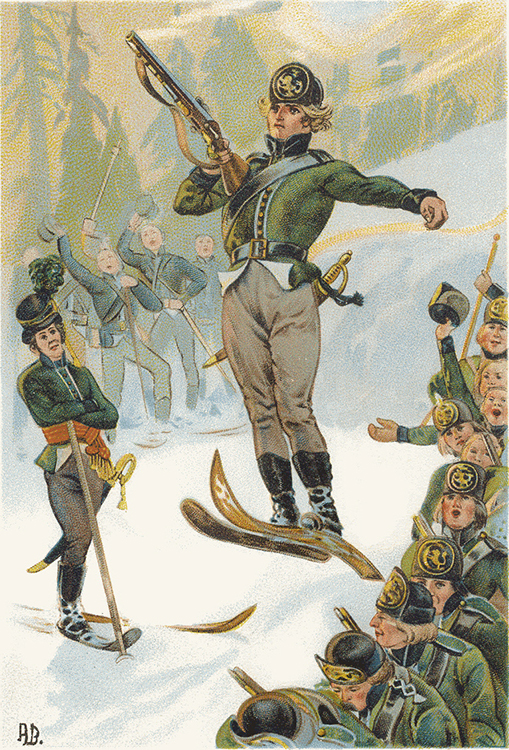 Photo: color lithographs by Andreas Bloch Trysil Knud jumping in military uniform, firing a musket in flight.