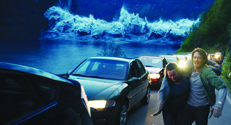 Photo courtesy of the Norwegian Film Institute Prescient geologist Kristian Eikfjord (Kristoffer Joner) helps an injured neighbor attempt to outrun the wave that will destroy the town of Geiranger in The Wave.