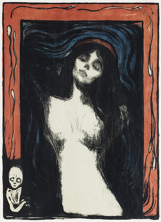 Photo courtesy of the Neue Galerie Edvard Munch (1863-1944), Madonna, 1895/1912-13 Colored lithograph in black, red and light olive green, and sawn woodblock or stencil in blue on light, golden Japan paper 60 x 44 cm (23 5/8 x 17 3/8 in.), Collection of Catherine Woodard and Nelson Blitz, Jr., © 2016 Artists Rights Society (ARS), New York.