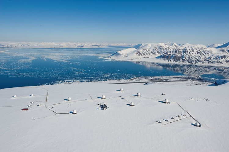 Photo courtesy of KSAT SvalSat ground station on Spitsbergen Island, Svalbard Archipelago.