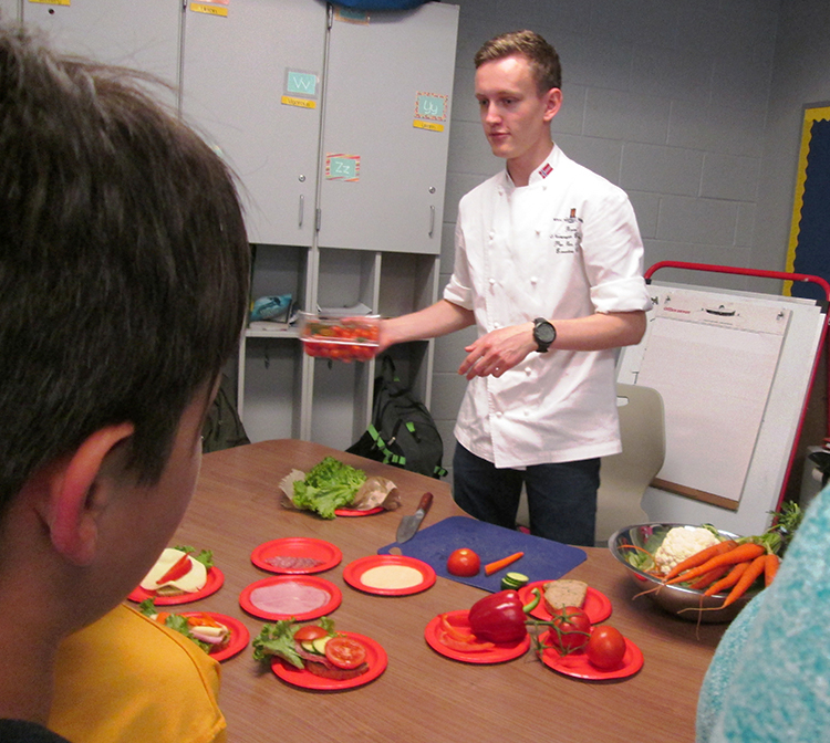 Photo: Christine Foster Meloni Chef Per Olav Hurv demonstrates how to assemble an open-faced sandwich.