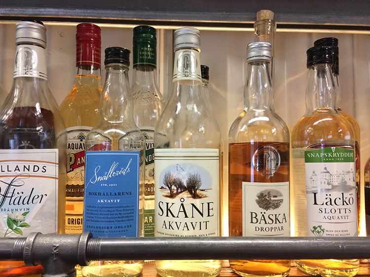 Photo courtesy of Old Ballard   A selection of Swedish aquavits.