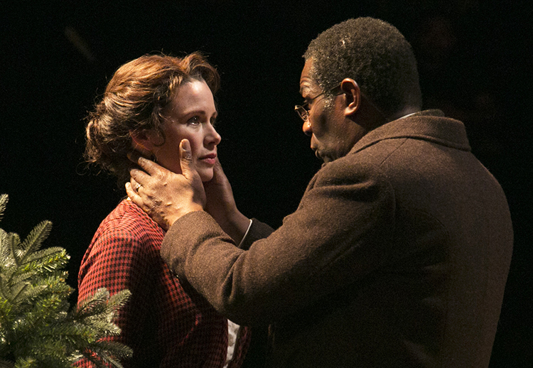 Photo: Gerry Goodstein / courtesy of TFANA The same actors played the major roles in both plays, highlighting the conversation between them. Here Maggie Lacey and John Douglas Thompson play Nora and Thorvald in Ibsen's A Doll's House.