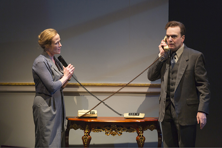 Photo: T. Charles Erickson /  courtesy of Lincoln Center Theater Jennifer Ehle and Jefferson Mays project the hopes of the real Mona and Terje in this dramatized version of the Oslo Accords.