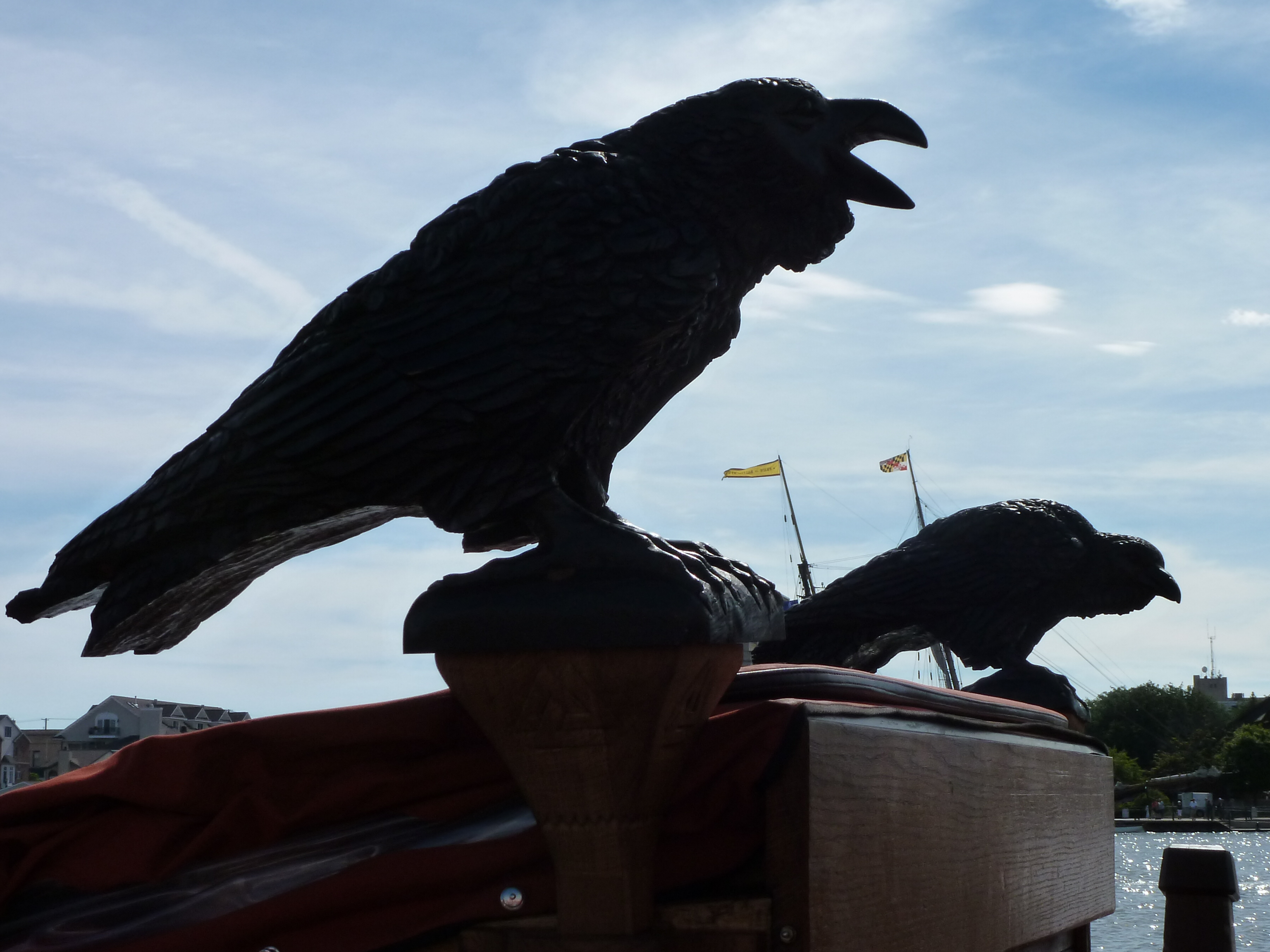 Photo: Karla Lunde Barber These carved birds represent the two ravens of Norse mythology who went out each day and returned to Odin's shoulder with all the news of the world.
