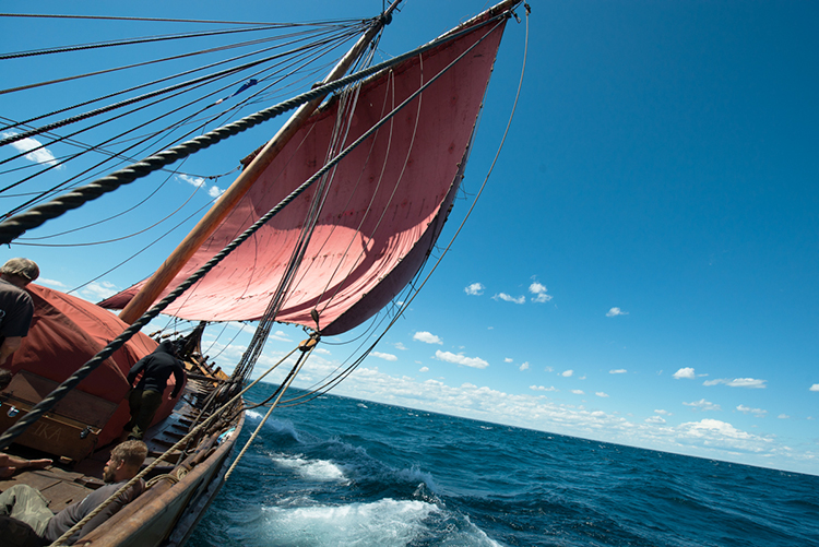 Photo courtesy of Expedition America 2016 Draken Harald Hårfagre sailing on Lake Huron.