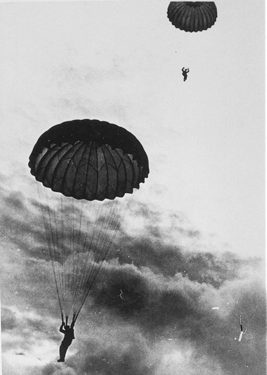 "Photo: © Haukelid Family,  courtesy of Houghton Mifflin Harcourt Parachute landing in Hardangervidda (""the Vidda"") during WWII."