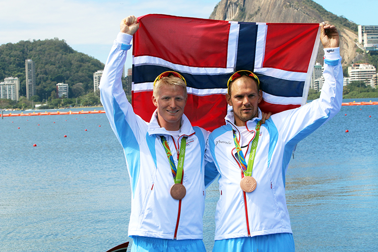 Photo: Karl Filip Singdahlsen / NIF /  courtesy of Norges Idrettsforbund Kjetil Borch and Olaf Tufte also took home bronze medals, Tufte with some disappointment that his 11th Olympic medal was not gold.