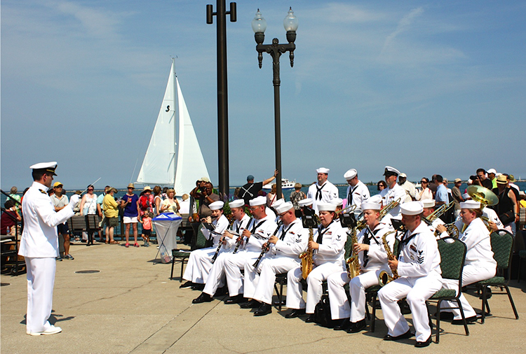 Photo: Arthur Andersen The ships were greeted by a Navy band and large crowds of onlookers.