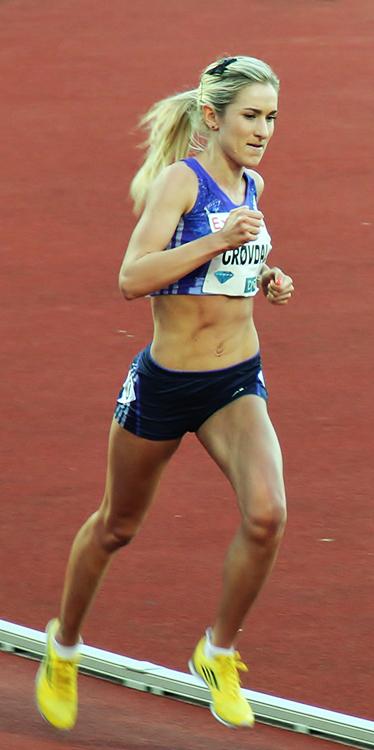 Photo: Chell Hill / Wikimedia Commons Karoline Bjerkeli Grøvdal competing at the 2015 Bislett Games.