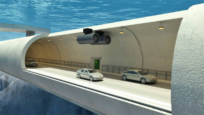 Photo: NPRA  An illustration of the proposed submerged floating tunnel.