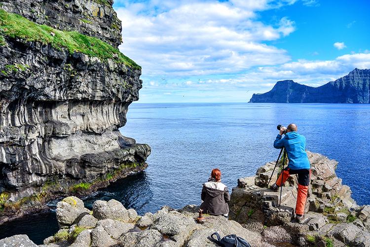 Photo: Elisabeth Beyer Puffin watching along the archipelago's craggy cliffs, where the strange birds nest.