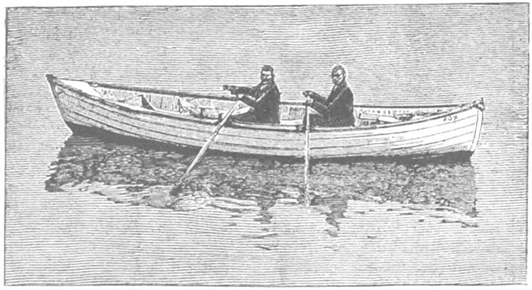Photo: Public Domain Drawing of Frank Samuelsen and George Harbo's rowboat the Fox. They used this boat in the first recorded rowboat crossing of the Atlantic Ocean.