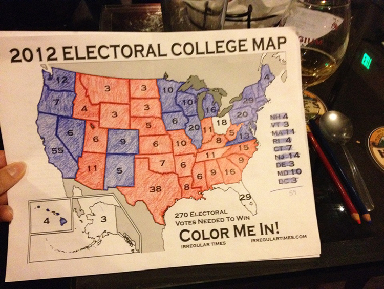Photo: Emily C. Skaftun I'm sure you'll be shocked by this, dear readers: your editor is a nerd who has a tradition of coloring in her electoral map while watching the returns. In a bar.