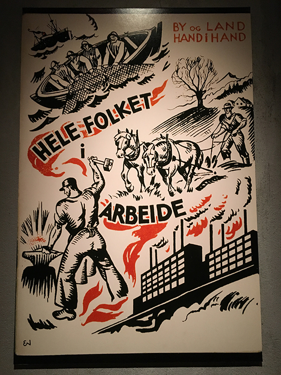 Photo: Emily C. Skaftun A vintage political poster for the Labor party on display in the We Won the Land exhibit within Lillehammer's Maihaugen museum.