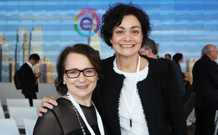 Photo courtesy of Nordic Startup Bits  Business development investor Jeanne Sullivan (left) sees the potential in Norway's entrepreneurial women, like Marianne Hindsgaul of Bubbly (right).
