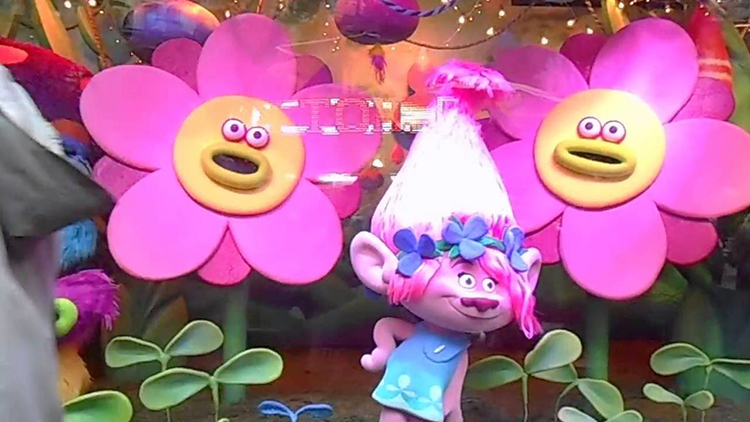 Photo: Elisa Huberman / YouTube Macy's window display is inspired by Betsey Johnson's latest collection and the world of Trolls. See more of this display at https://www.youtube.com/watch?v=9YV65Md9EgY.