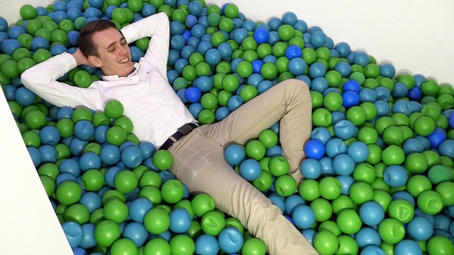 A ball pit in Norway's new hacker house.