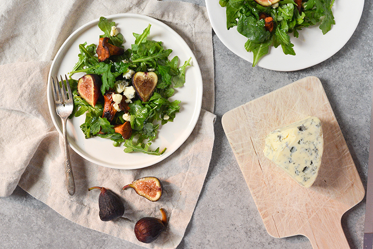 Two servings of a chanterelle and fig salad.