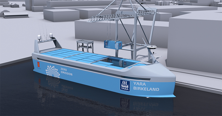 A concept illustration of the Yara Birkeland.
