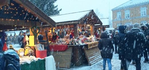 A snowy Christmas market.