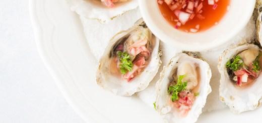 oysters & rhubarb