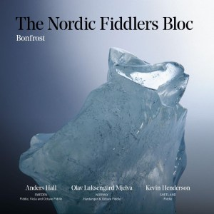 Album cover for The Nordic Fiddlers Bloc's newest album, Bonfrost, featuring a large chunk of ice.