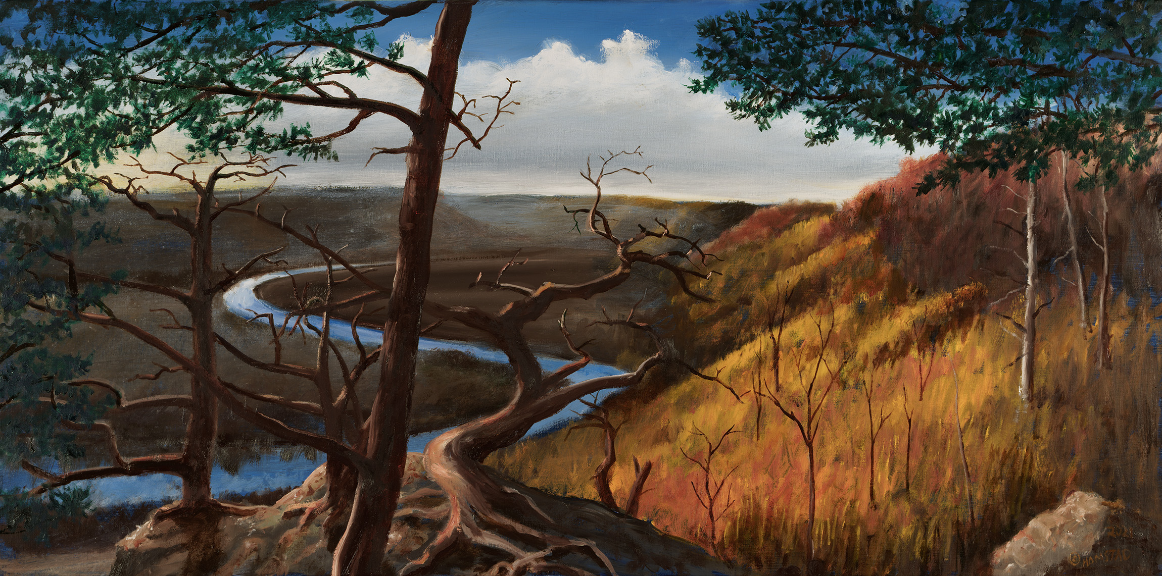 a painting of the Decorah Landscape by Carl Homstad